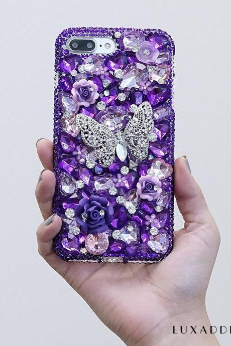 Purple Stones Diamond Butterfly Flowers Genuine Crystals Sparkle Bling Luxury Case For iPhone X XS Max XR 7 8 Plus Samsung Galaxy S9 Note 9