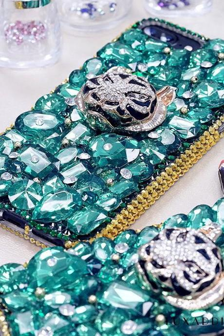Emerald Green Stones Diamond Tiger Gold Edge Genuine Crystals Sparkle Bling Case For iPhone X XS Max XR 7 8 Plus Samsung Galaxy S9 Note 9