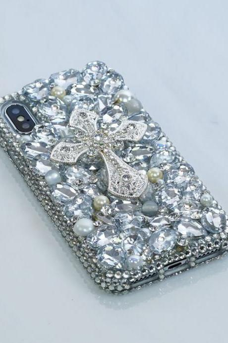 Diamond Silver Cross White Pearls Gem Stones Genuine Crystals Sparkle Bling Case For iPhone X XS Max XR 7 8 Plus Samsung Galaxy S9 Note 9