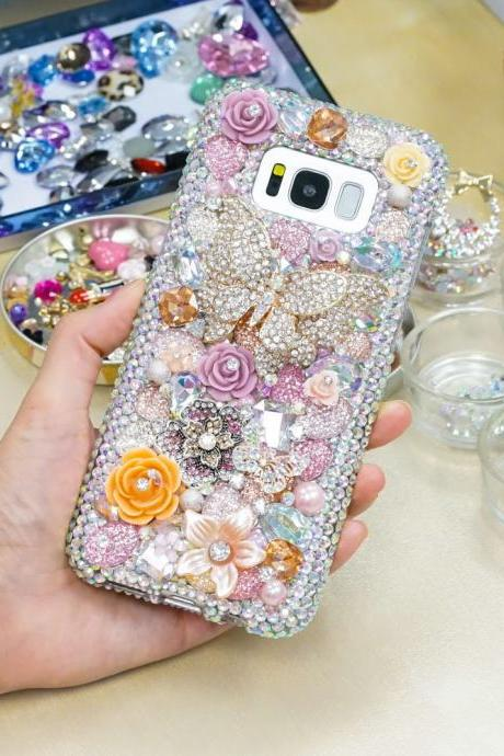 Butterfly Wonderland Rose Garden Genuine AB Crystals Diamond Sparkle Bling Case For iPhone X XS Max XR 7 8 Plus Samsung Galaxy S9 Note 9