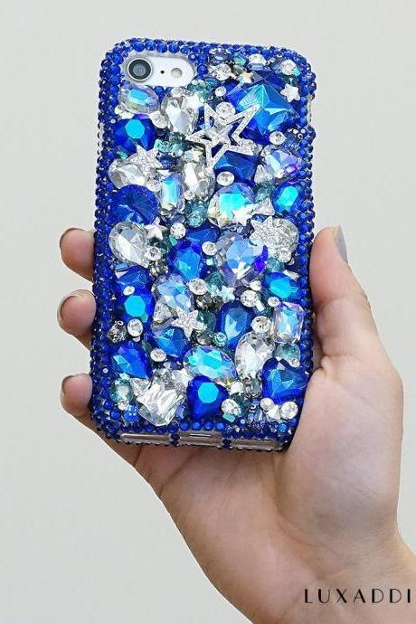 Bright Blue Super Star Clear Gem Stones Genuine Crystals Diamond Sparkle Bling Case For iPhone X XS Max XR 7 8 Plus Samsung Galaxy S9 Note 9