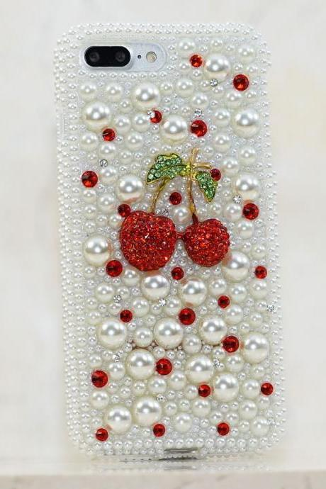 Super Red Cherry White Pearls Genuine Crystals Diamond Sparkle Bling Protective Case For iPhone X XS Max XR 7 8 Plus Samsung Galaxy S9 Note