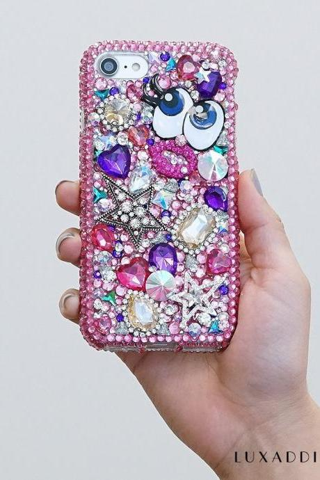 Hot Pink Super Star Gold Gem Stones Genuine Crystals Diamond Sparkle Bling Case For iPhone X XS Max XR 7 8 Plus Samsung Galaxy S9 Note 9