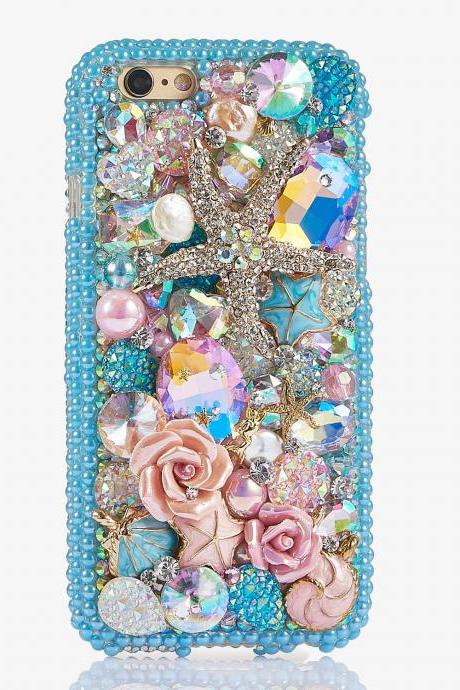 Aqua Blue Pearls Reef Sea Star Roses Genuine Crystals Diamond Sparkle Bling Case For iPhone X XS Max XR 7 8 Plus Samsung Galaxy S9 Note 9