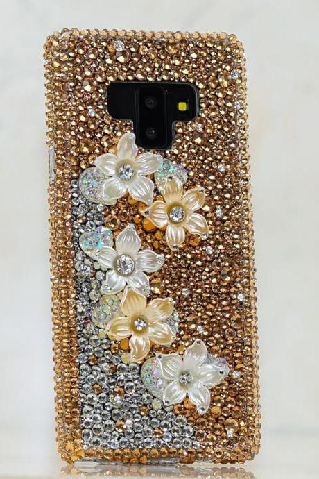 Bling Golden Posies Flowers Genuine Crystals Clear Diamond Sparkle Protective Case For iPhone X XS Max XR 7 8 Plus Samsung Galaxy S9 Note 9