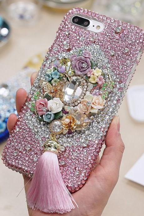 Bling Pink Butterfly Rose Garden Tassel Genuine Crystals Diamond Sparkle Case For iPhone X XS Max XR 7 8 Plus Samsung Galaxy S9 Note 9