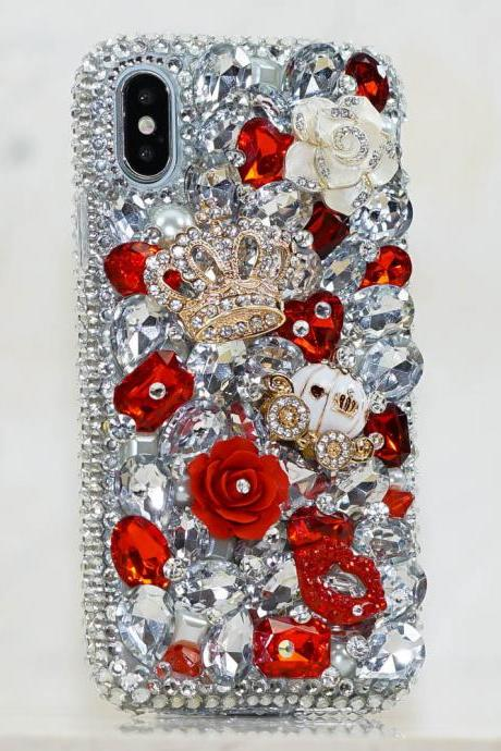 Royal Ruby Red Stones Gold Crown Carriage Genuine Crystals Diamond Sparkle Case For iPhone X XS Max XR 7 8 Plus Samsung Galaxy S9 Note 9