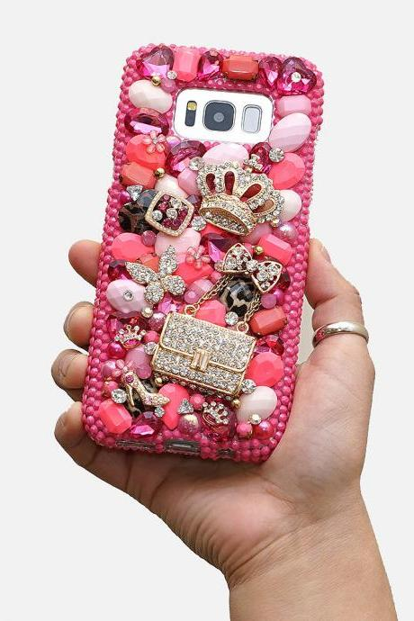 Pink Princess Diamond Gold Crown Purse Bow Genuine Crystals Diamond Sparkle Case For iPhone X XS Max XR 7 8 Plus Samsung Galaxy S9 Note 9