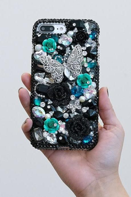 Bling Butterfly Turquoise Roses Flowers Genuine Black Crystals Diamond Sparkle Case For iPhone X XS Max XR 7 8 Plus Samsung Galaxy S9 Note 9