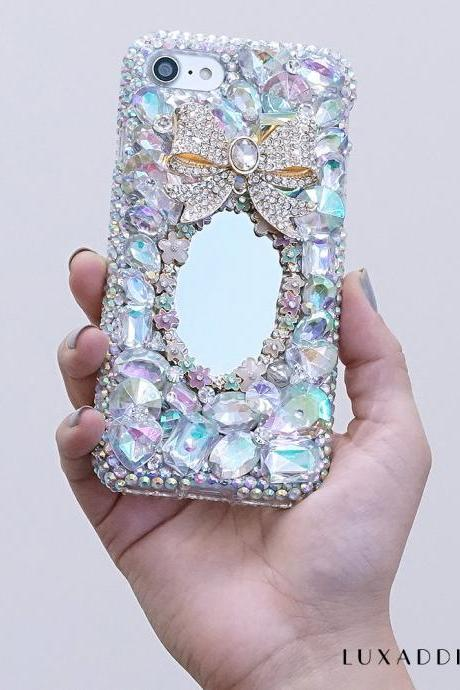 Bling Diamond Bor Floral Mirror Gems Stones Genuine AB Crystals Sparkle Case For iPhone X XS Max XR 7 8 Plus Samsung Galaxy S9 Note 9