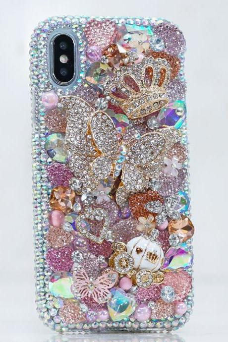 Diamond Butterfly Gold Crown Horse Carriage Genuine AB Bling Crystals Sparkle Case For iPhone X XS Max XR 7 8 Plus Samsung Galaxy S9 Note 9