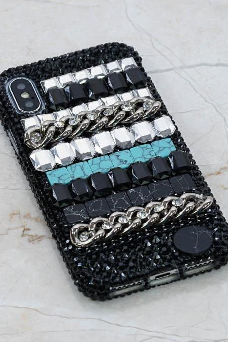 Bling Black Marble Design Turquoise Stones Genuine Crystals Diamond Sparkle Case For iPhone X XS Max XR 7 8 Plus Samsung Galaxy S9 Note 9