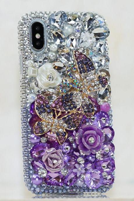 Bling Lavender Butterfly Rose Florals Genuine Purple Crystals Diamond Sparkle Case For iPhone X XS Max XR 7 8 Plus Samsung Galaxy S9 Note 9