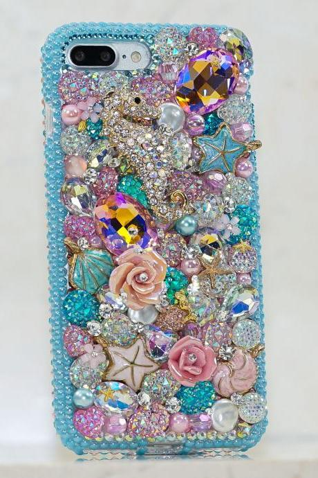 Bling Sea Horse Floral Rose Garden Blue Reef Genuine Crystals Diamond Sparkle Case For iPhone X XS Max XR 7 8 Plus Samsung Galaxy S9 Note 9