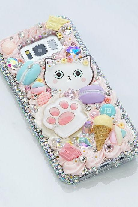 Bling Sweets Kitty Paws Candy Ice Cream Genuine Crystals Diamond Sparkle Case For iPhone X XS Max XR 7 8 Plus Samsung Galaxy S9 Note 9