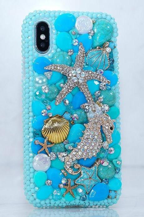 Bling Turquoise Sea Horse Star Gold Shell Genuine Crystals Diamond Stone Sparkle Case For iPhone X XS Max XR 7 8 Plus Samsung Galaxy S9 Note