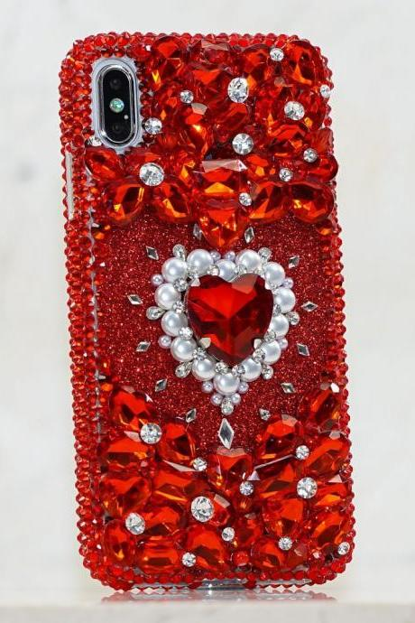 Bling Bright Red Gem Stones Genuine Crystals Diamond Heart Sparkle Glitter Case For iPhone X XS Max XR 7 8 Plus Samsung Galaxy S9 Note 9