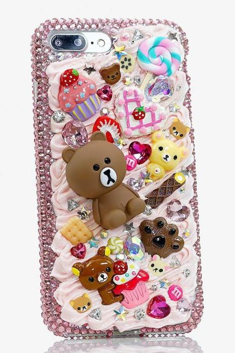 Bling Yummy Bears Creamy Cake Genuine Pink Crystals Diamond Sparkle Heart Case For iPhone X XS Max XR 7 8 Plus Samsung Galaxy S9 Note 9