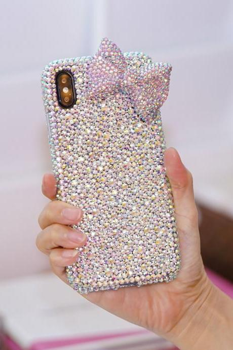Bling Baby Pink Bow Genuine AB Crystals Diamond Sparkle Easy Grip Case Cover For iPhone X XS Max XR 7 8 Plus Samsung Galaxy S9 S8 Plus Note