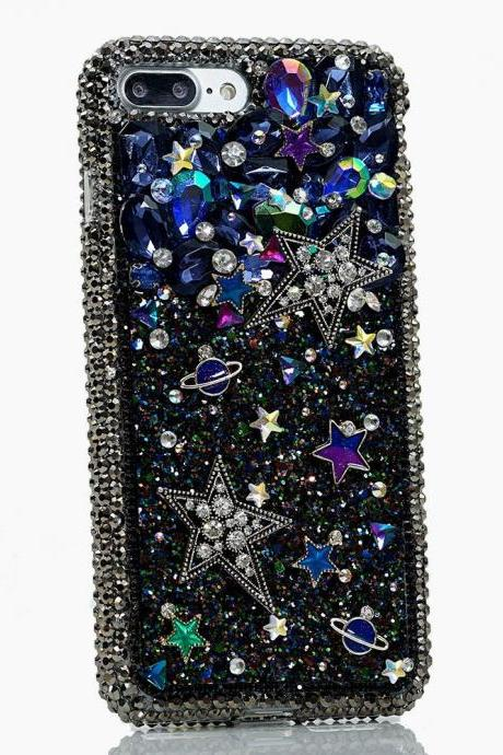 Bling Universe Star Genuine Crystals Diamond Sparkle Easy Grip Case For iPhone X XS Max XR 7 8 Plus Samsung Galaxy S9 Note 9, 8 Gift For Her
