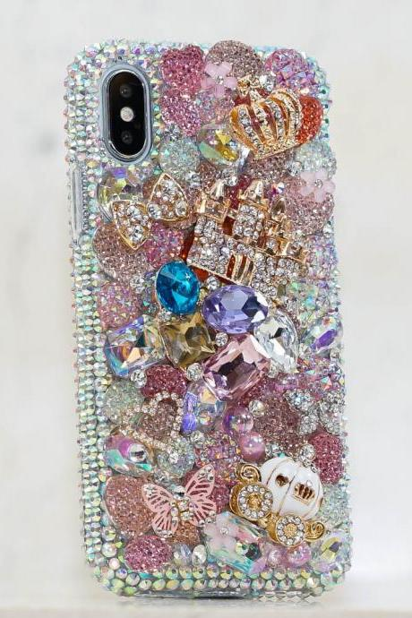 Fairytale Castle Crown Horse Carriage Genuine Crystals Diamond Sparkle Case For iPhone X XS Max XR 7 8 Plus Samsung Galaxy S9 Plus Note 9 8