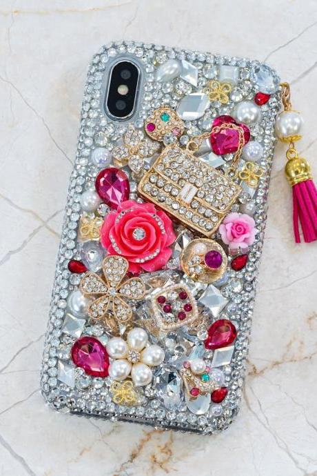 Fashion Purse Roses Flowers Tassel Phone Charm Genuine Crystals Diamond Sparkle Case For iPhone X XS Max XR 7 8 Plus Samsung Galaxy S9 Note