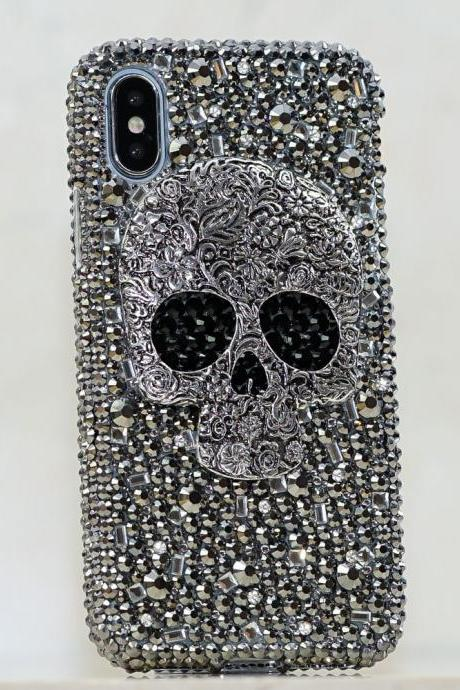 Bling Metallic Skull Design Genuine Crystals Diamond Sparkle Case For iPhone X XS Max XR 7 8 Plus Samsung Galaxy S9 Plus Note 9 / 8