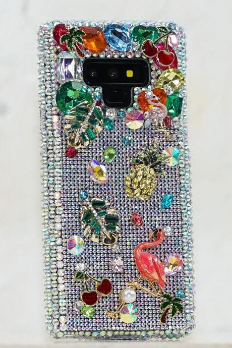 Bling Flamingo Design Genuine AB Crystals Diamond Sparkle Case For iPhone X XS Max XR 7 8 Plus Samsung Galaxy S9 plus Note 9