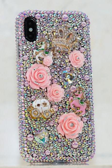 Bling Fairytale Princess Genuine Baby Pink Crystals Roses Crown Diamond Sparkle Case For iPhone X XS Max XR 7 8 Plus Samsung Galaxy Note