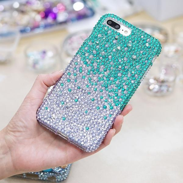 Bling Genuine Turquoise Lavender Crystals Case For iPhone X XS Max XR 7 8 Plus Samsung Galaxy S9 Note 9 / 8 Diamond Sparkle Protective Cover