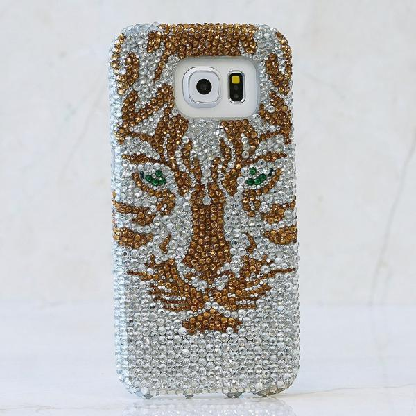 Bling Golden Tiger Genuine Gold and Clear Crystals Case For iPhone X XS Max XR 7 8 Plus Samsung Galaxy S9 Note 9 / 8 Diamond Sparkle Cover