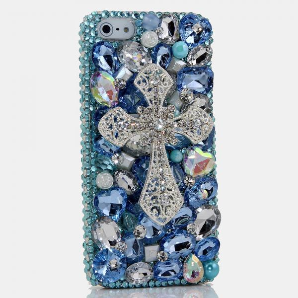 Genuine Crystals Case For iPhone X XS Max XR 7 8 Plus Samsung Galaxy S9 Note 9 Bling Diamond Sparkle Blue Cross Gem Stones Gift for Her