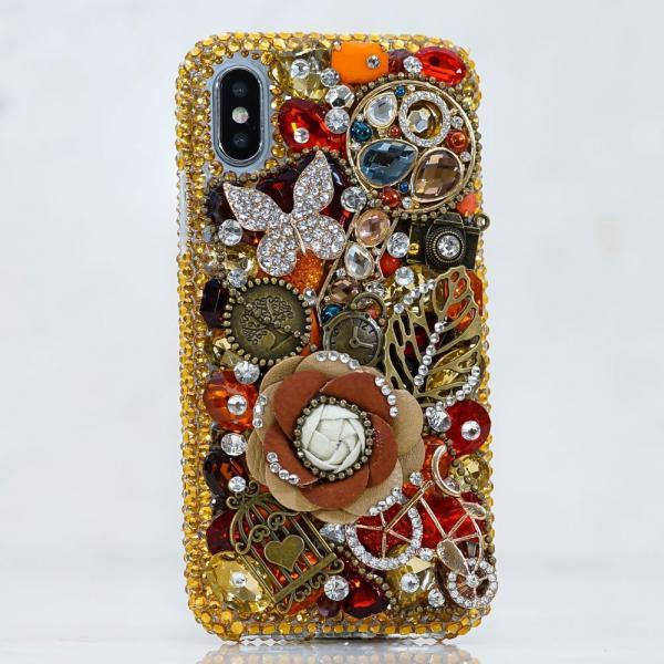 Genuine Crystals Case For iPhone X XS Max XR 7 8 Plus Samsung Galaxy S9 Note 9 Bling Diamond Sparkle Vintage Jewelry Butterfly Gold Stones