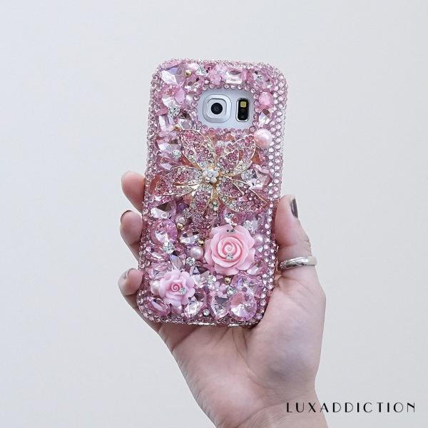 Genuine Crystals Case For iPhone X XS Max XR 7 8 Plus Samsung Galaxy S9 Note 9 Bling Diamond Sparkle Baby Pink Flower Roses Gem Stones