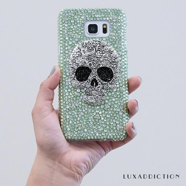 metallic Skull Genuine Lime Green Crystals Diamond Sparkle Bling Protective Case For iPhone X XS Max XR 7 8 Plus Samsung Galaxy S9 Note 9