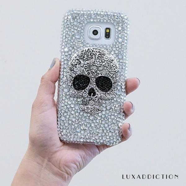Metallic Skull Genuine Clear Crystals Diamond Sparkle Bling Easy Grip Jewelry Case For iPhone X XS Max XR 7 8 Plus Samsung Galaxy S9 Note 9