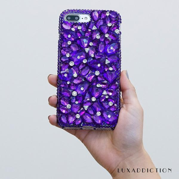Purple Stones Genuine Crystals Diamond Sparkle Bling Easy Grip Protective Case For iPhone X XS Max XR 7 8 Plus Samsung Galaxy S9 Note 9