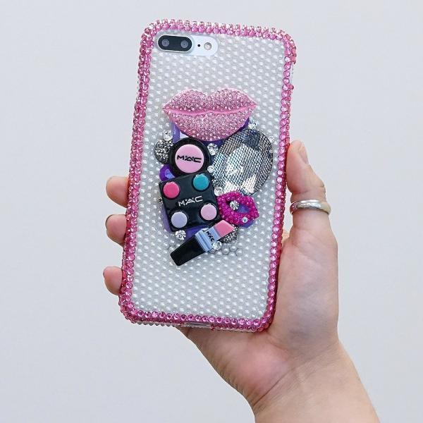 Super Make-up Design Pink Lip Pearls Genuine Crystals Diamond Sparkle Bling Case For iPhone X XS Max XR 7 8 Plus Samsung Galaxy S9 Note 9