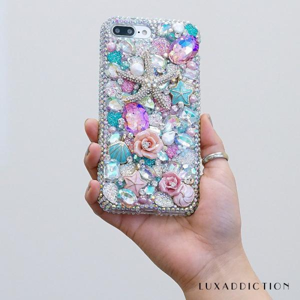 Bling Reef Garden Sea Horse Pink Roses Stones Genuine Crystals Diamond Sparkle Case For iPhone X XS Max XR 7 8 Plus Samsung Galaxy S9 Note 9