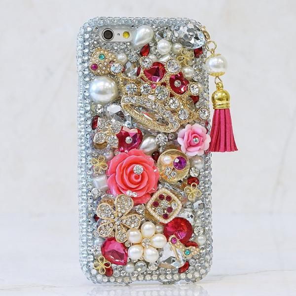 Bling Gold Diamond Crown Pink Tassel White Pearls Genuine Crystals Sparkle Case For iPhone X XS Max XR 7 8 Plus Samsung Galaxy S9 Note 9