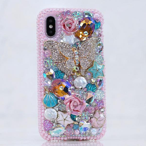 Bling Butterfly Paradise Pink Pearls Rose Genuine Crystals Diamond Sparkle Case For iPhone X XS Max XR 7 8 Plus Samsung Galaxy S9 Note 9