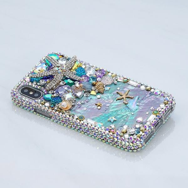Bling Reef Sea Star Authentic Shell Genuine AB Crystals Diamond Sparkle Case For iPhone X XS Max XR 7 8 Plus Samsung Galaxy S9 S8 Note 8 / 9