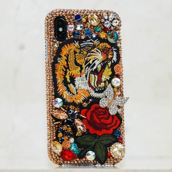Tiger Rose Pearls Tattoo Gold Genuine Copper Crystals Diamond Sparkle Case For iPhone X XS Max XR 7 8 Plus Samsung Galaxy S9 Note 9 / 8