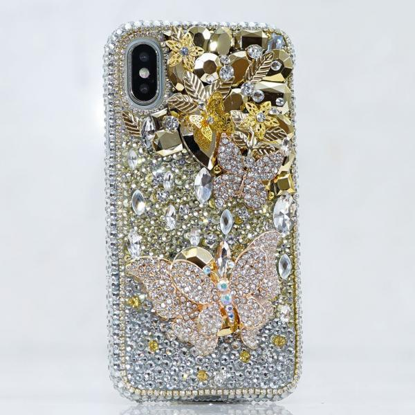 Bling Golden Butterfly Clear Gem Stones Genuine Crystals Diamond Sparkle Case For iPhone X XS Max XR 7 8 Plus Samsung Galaxy S9 Plus Note 9