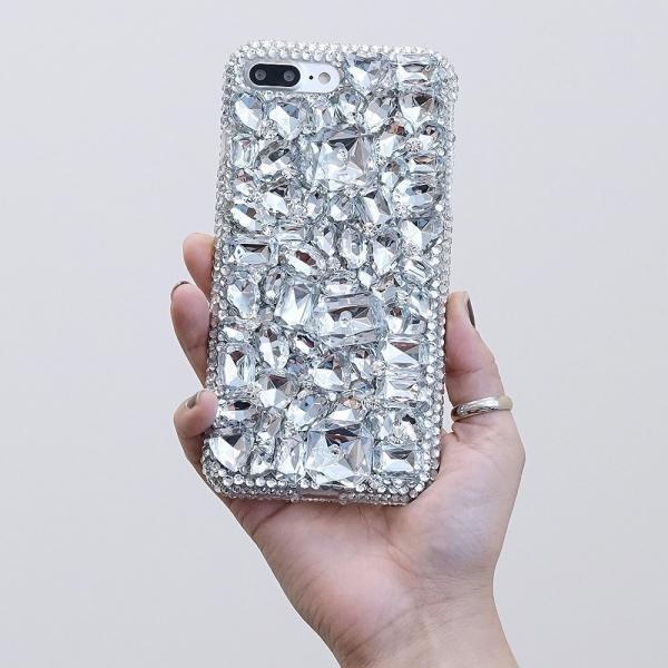 Bling Clear Gem Stones Genuine Crystals Diamond Sparkle Easy Grip Case For iPhone X XS Max XR 7 8 Plus Samsung Galaxy S9 Plus S8 Note 9 / 8