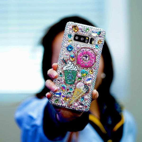 Bling Pastry Starbucks Donuts Ice Creams Genuine Crystals Diamond Sparkle Case For iPhone X XS Max XR 7 8 Plus Samsung Galaxy S9 Plus Note 9