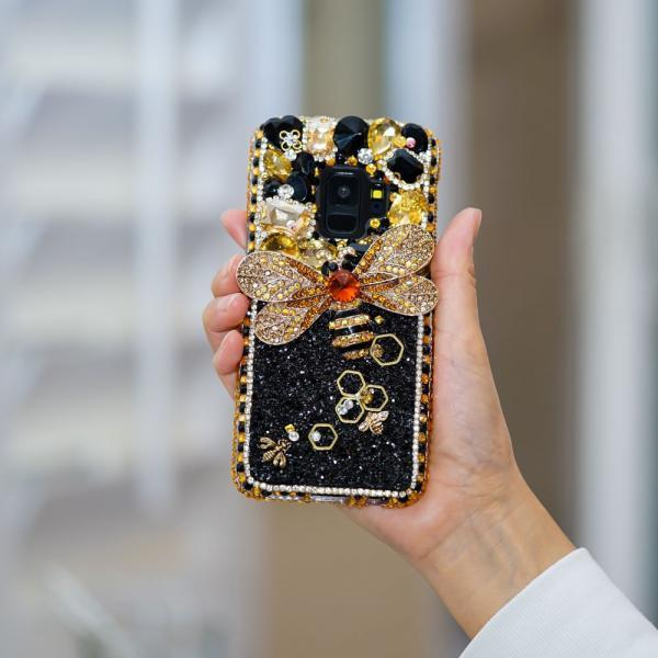 Bling Bumblebee Gold Stones Gems Genuine Crystals Diamond Sparkle Black Case For iPhone X XS Max XR 7 8 Plus Samsung Galaxy S9 S8 Note 9 / 8