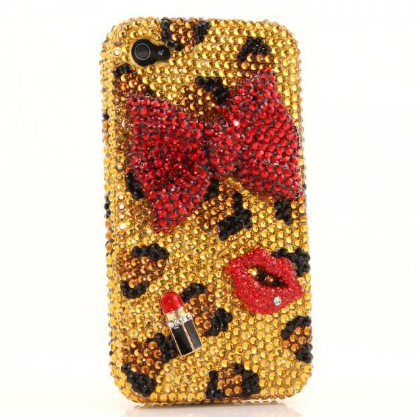 Bling Crystals Phone Case for iPhone 6 / 6s, iPhone 6 / 6s PLUS, iPhone 4, 5, 5S, 5C, Samsung Note 2, Note 3, Note 4, Galaxy S3, S4, S5, S6, S6 Edge, HTC ONE M9 (GIRLY LEOPARD DESIGN) By LuxAddiction