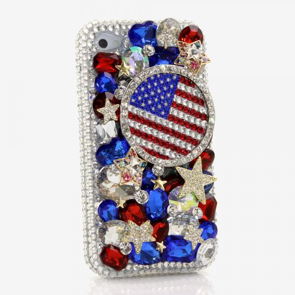 Bling Crystals Phone Case for iPhone 6 / 6s, iPhone 6 / 6s PLUS, iPhone 4, 5, 5S, 5C, Samsung Note 2, Note 3, Note 4, Galaxy S3, S4, S5, S6, S6 Edge, HTC ONE M9 (AMERICAN FLAG DESIGN) By LuxAddiction