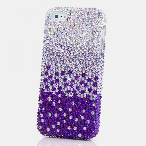 Bling Crystals Phone Case for iPhone 6 / 6s, iPhone 6 / 6s PLUS, iPhone 4, 5, 5S, 5C, Samsung Note 2, Note 3, Note 4, Galaxy S3, S4, S5, S6, S6 Edge, HTC ONE M9 (AB CRYSTALS FADES TO PURPLE DESIGN) By LuxAddiction